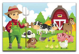 farmer at his farm with a bunch of farm animals Canvas Print or Poster  - Canvas Art Rocks - 1