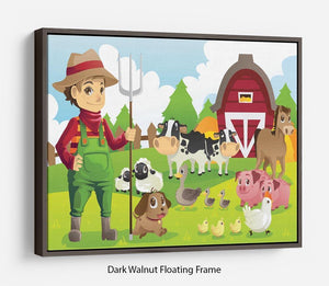farmer at his farm with a bunch of farm animals Floating Frame Canvas