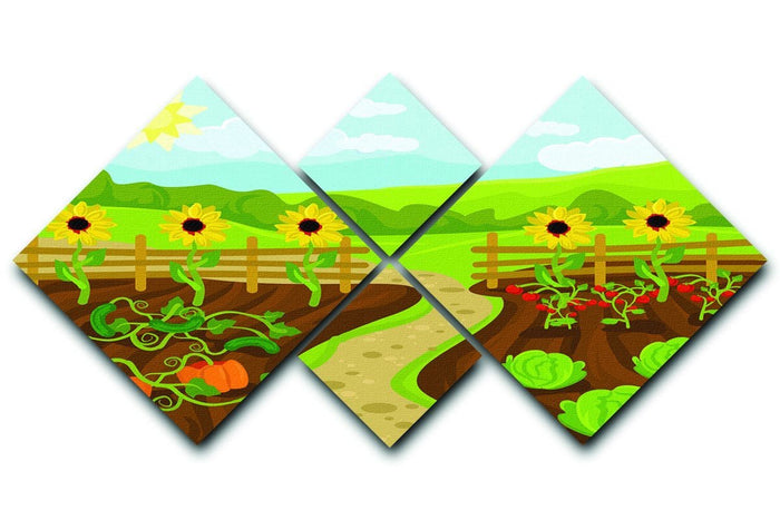 garden flat cartoon 4 Square Multi Panel Canvas