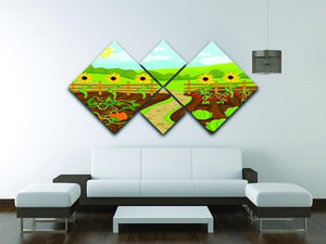 garden flat cartoon 4 Square Multi Panel Canvas - Canvas Art Rocks - 3
