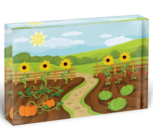 garden flat cartoon Acrylic Block - Canvas Art Rocks - 1