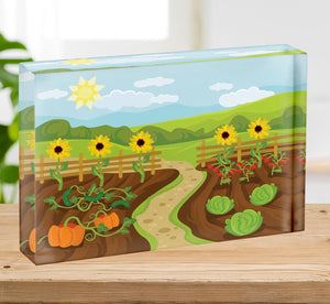 garden flat cartoon Acrylic Block - Canvas Art Rocks - 2