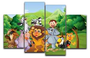 group of animals at the jungle 4 Split Panel Canvas  - Canvas Art Rocks - 1