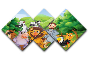 group of animals at the jungle 4 Square Multi Panel Canvas  - Canvas Art Rocks - 1