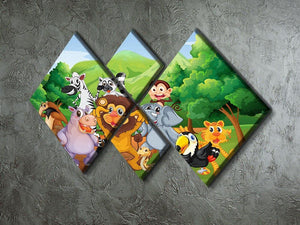 group of animals at the jungle 4 Square Multi Panel Canvas - Canvas Art Rocks - 2