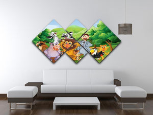 group of animals at the jungle 4 Square Multi Panel Canvas - Canvas Art Rocks - 3