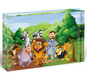 group of animals at the jungle Acrylic Block - Canvas Art Rocks - 1