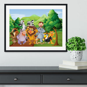 group of animals at the jungle Framed Print - Canvas Art Rocks - 1