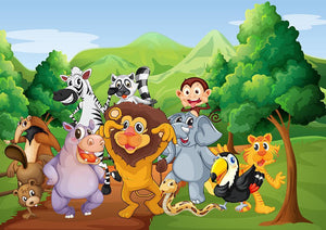 group of animals at the jungle Wall Mural Wallpaper - Canvas Art Rocks - 1