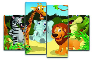 group of wild African animals in the jungle 4 Split Panel Canvas  - Canvas Art Rocks - 1