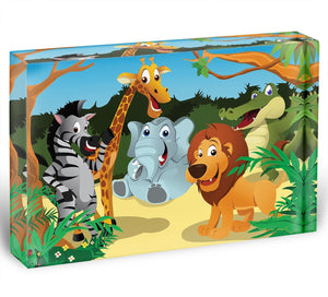 group of wild African animals in the jungle Acrylic Block - Canvas Art Rocks - 1