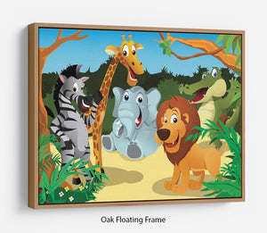 group of wild African animals in the jungle Floating Frame Canvas