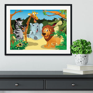 group of wild African animals in the jungle Framed Print - Canvas Art Rocks - 1