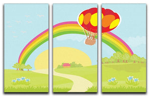 hot air balloon 3 Split Panel Canvas Print - Canvas Art Rocks - 1