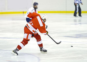 ice hockey player in red Wall Mural Wallpaper - Canvas Art Rocks - 1