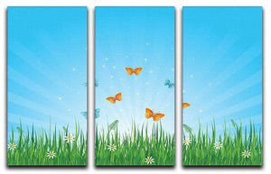 illustration of grassy field and butterflies 3 Split Panel Canvas Print - Canvas Art Rocks - 1