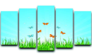 illustration of grassy field and butterflies 5 Split Panel Canvas  - Canvas Art Rocks - 1
