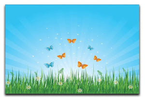 illustration of grassy field and butterflies Canvas Print or Poster  - Canvas Art Rocks - 1