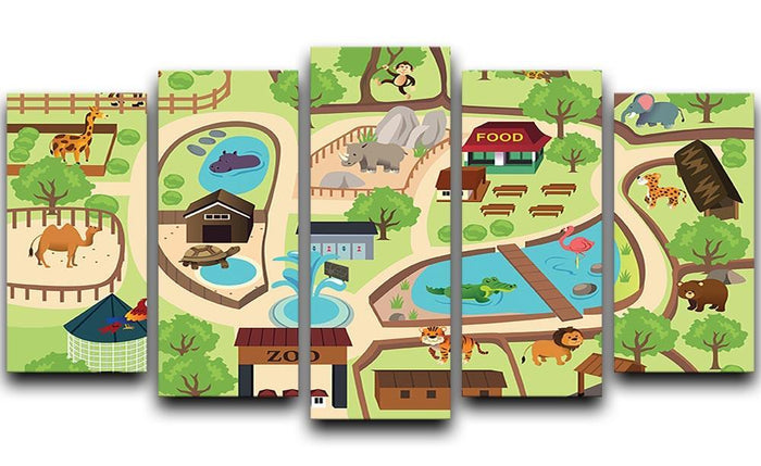 illustration of map of a zoo park 5 Split Panel Canvas