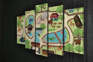 illustration of map of a zoo park 5 Split Panel Canvas  - Canvas Art Rocks - 2