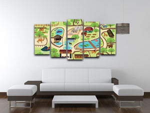 illustration of map of a zoo park 5 Split Panel Canvas  - Canvas Art Rocks - 3