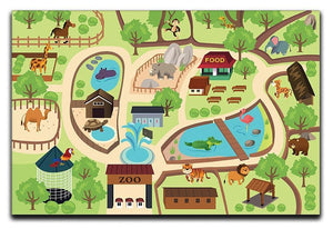 illustration of map of a zoo park Canvas Print or Poster  - Canvas Art Rocks - 1