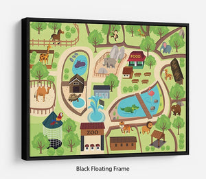illustration of map of a zoo park Floating Frame Canvas