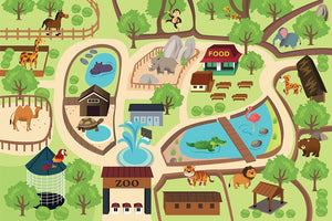 illustration of map of a zoo park Wall Mural Wallpaper - Canvas Art Rocks - 1