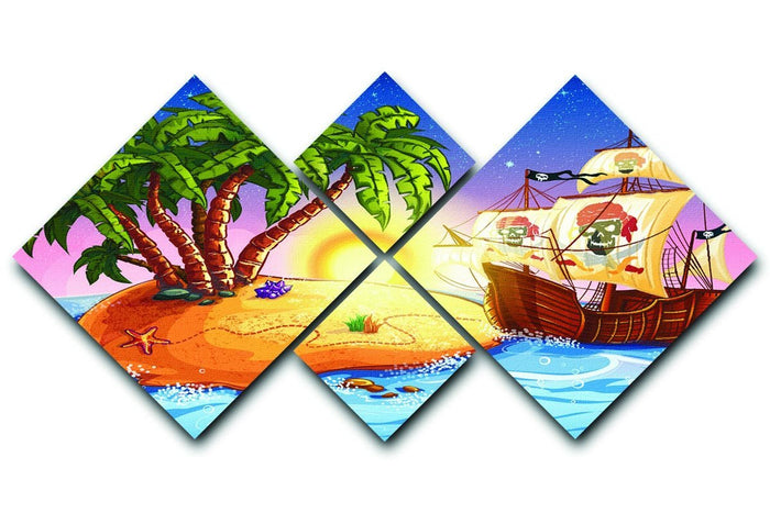 island with a pirate ship 4 Square Multi Panel Canvas