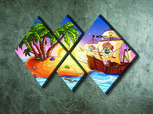 island with a pirate ship 4 Square Multi Panel Canvas - Canvas Art Rocks - 2