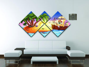 island with a pirate ship 4 Square Multi Panel Canvas - Canvas Art Rocks - 3