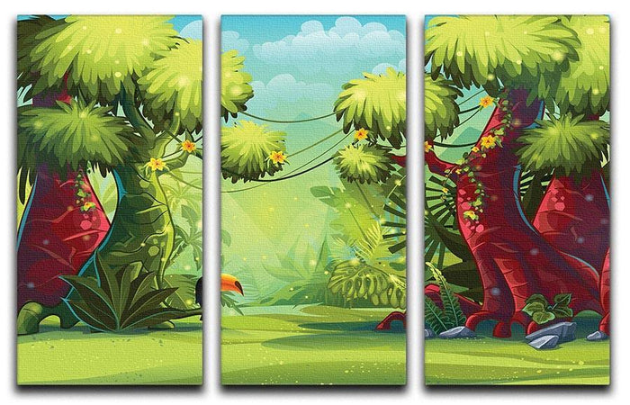 jungle with bird toucan 3 Split Panel Canvas Print