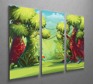 jungle with bird toucan 3 Split Panel Canvas Print - Canvas Art Rocks - 2