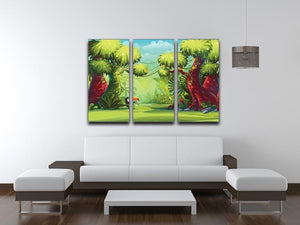 jungle with bird toucan 3 Split Panel Canvas Print - Canvas Art Rocks - 3