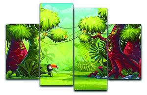 jungle with bird toucan 4 Split Panel Canvas  - Canvas Art Rocks - 1