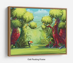 jungle with bird toucan Floating Frame Canvas