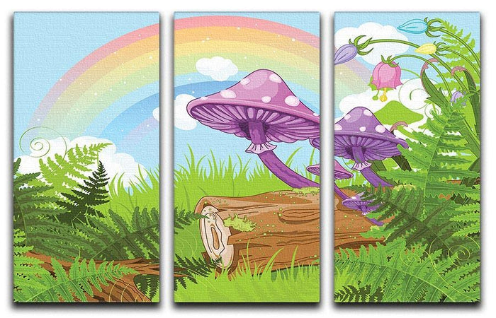 landscape with mushrooms and flowers 3 Split Panel Canvas Print