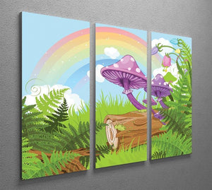 landscape with mushrooms and flowers 3 Split Panel Canvas Print - Canvas Art Rocks - 2