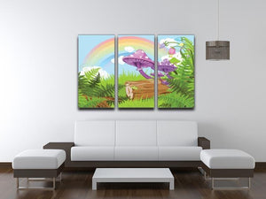 landscape with mushrooms and flowers 3 Split Panel Canvas Print - Canvas Art Rocks - 3