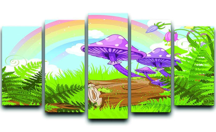 landscape with mushrooms and flowers 5 Split Panel Canvas