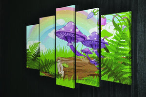 landscape with mushrooms and flowers 5 Split Panel Canvas - Canvas Art Rocks - 2