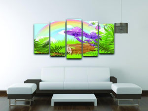 landscape with mushrooms and flowers 5 Split Panel Canvas - Canvas Art Rocks - 3