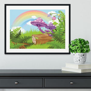 landscape with mushrooms and flowers Framed Print - Canvas Art Rocks - 1