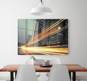 light trails modern building HD Metal Print