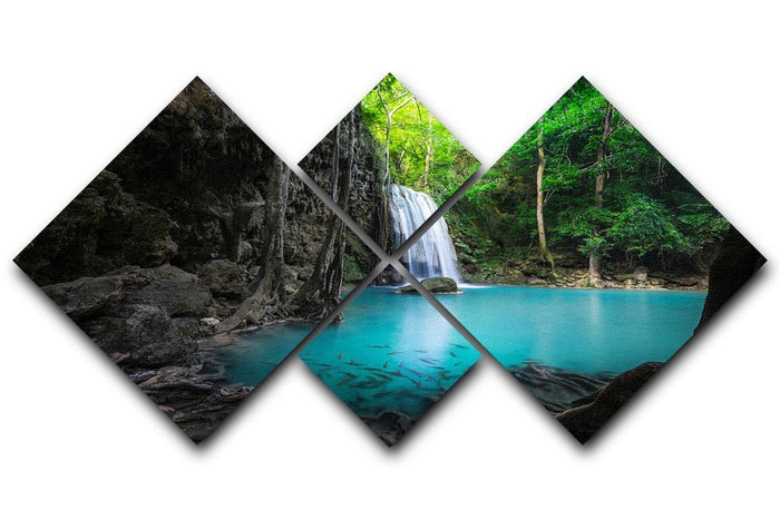 lowing turquoise water of Erawan cascade 4 Square Multi Panel Canvas