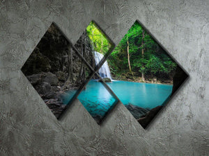 lowing turquoise water of Erawan cascade 4 Square Multi Panel Canvas  - Canvas Art Rocks - 2