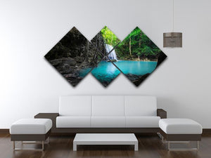 lowing turquoise water of Erawan cascade 4 Square Multi Panel Canvas  - Canvas Art Rocks - 3