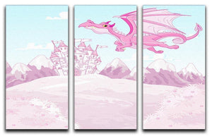 magic dragon on princess castle 3 Split Panel Canvas Print - Canvas Art Rocks - 1