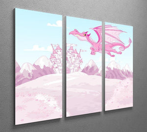 magic dragon on princess castle 3 Split Panel Canvas Print - Canvas Art Rocks - 2