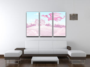 magic dragon on princess castle 3 Split Panel Canvas Print - Canvas Art Rocks - 3